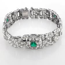 diamond bracelet jewelry images Fine estate jewelry platinum diamond bracelet for women w emeralds jpg