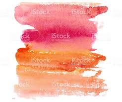 Colors Orange Hand Drawm Watercolor Wash In Sunset Red Pinkorange Colors Stock