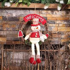 christmas wreath long leg snowman toys round rattan christmas