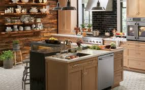 kitchen style beige cabinets and ceramic tile floors black subway