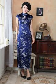 cherry blossom floral navy blue silk brocade qipao sleeveless long
