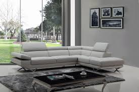 Modern Italian Leather Furniture Divani Casa Quebec Modern Light Grey Eco Leather Sectional Sofa