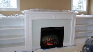 fireplace exciting living room decoration with light blue glass
