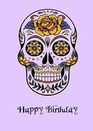 mexican sugar skull punk gothic greeting birthday card a6 amazon