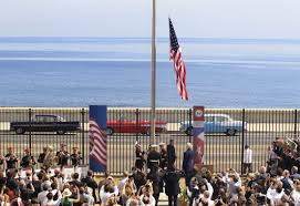 American Flag Watches Cuban Dissidents Barred From Us Embassy Opening