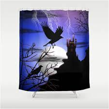 edgar allen poe worthy black raven halloween shower curtain