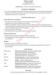 Maintenance Resume Examples by Resume Sample Maintenance Mechanic