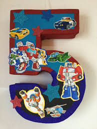 transformer party supplies rescue bots pinata number 5 rescue bots party theme transformers