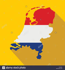 netherlands map flag map of netherlands with flag icon stock vector