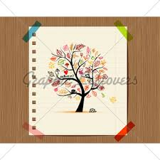 autumn tree sketch drawing for your design gl stock images