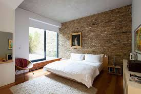 architecture cozy bedroom in brick design for homes with white