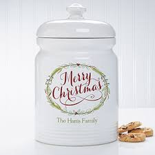 personalized christmas cookie jar happy holidays