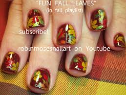 diy fall leaf nails easy autumn leaves nail art design tutorial