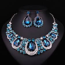 jewelry crystal necklace images Indian crystal necklace earrings bridal jewelry sets jpg