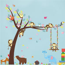 Removable Nursery Wall Decals Forest Animals Tree Wall Stickers For Room Monkey Jungle