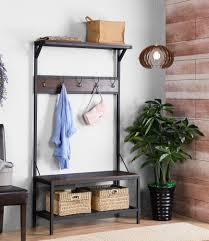 traci 3 shelf 39 in wide metal wood hall tree u2013 homestar