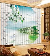 customize 3d curtains swan lake south of town soundproof curtains
