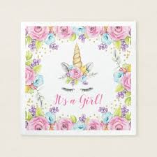 baby shower paper watercolor floral unicorn it s a girl baby shower paper napkin