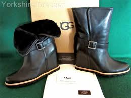 motorcycle boots uk ugg australia black ellecia wedge heel shearling sheepskin leather