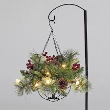 christmas hanging baskets with lights x 25cm pre lit elk mountain hanging basket with 10 white led