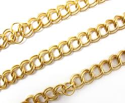gold plated curb necklace images Huge vintage gold plated double curb chain 2 feet c646 jpg