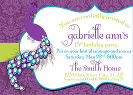 invitations for 13th birthday party diy printable peacock birthday invitation
