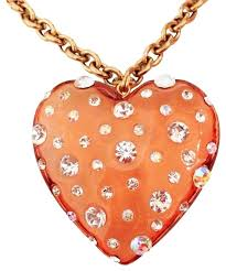 charm heart necklace images Betsey johnson gold colored chain lucite crystal rhinestone heart jpg