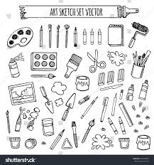 art tools sketch hand drawn set vector white and black desing art