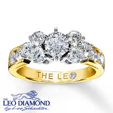 leo engagement rings leo ring 1 3 4 ct tw cut 14k yellow gold