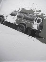 racing land rover t shirt with land rover defender logo and all over printed picture