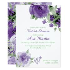 Purple Wedding Invitations Purple Bridal Shower Invitations U0026 Announcements Zazzle