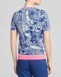 tory burch printed short sleeve sweater in blue lyst