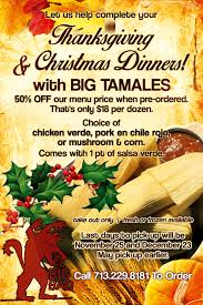 order thanksgiving dinner and christmas dinner with big tamales