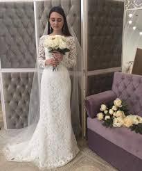 mermaid long sleeves lace wedding dress