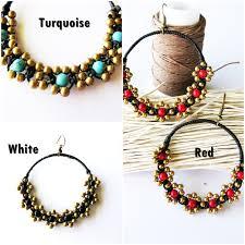 thailand earrings handmade earrings flower dangle hoops brass beaded with bead
