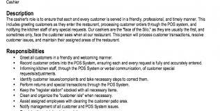 grocery store cashier job description fast food job description for resume server job description