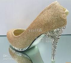 wedding shoes gold color gold flower wedding shoes high heel shoes diamond party evening
