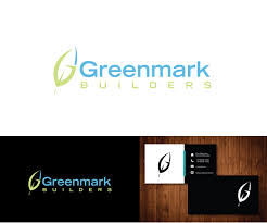 modern bold logo design for greenmark builders inc by e graphics
