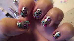 colorful cheetah print nails
