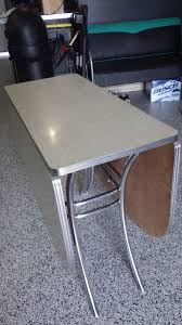 Vintage Lloyd Retro Gray Cracked Ice Formica  Chrome Drop Leaf - Retro formica kitchen table