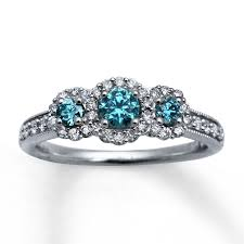 blue diamond wedding rings light blue diamonds 7 8 ct tw engagement ring 14k white gold