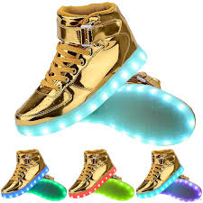 gold light up sneakers light up high top sports sneakers shoes women men high top usb