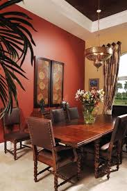 rust paint color dining room mediterranean with red wall cotton