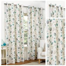 Floral Lined Curtains April Teal Floral Ring Top Eyelet Lined Curtains 4yh Textiles