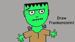 Halloween Drawings Easy How To Draw A Cute Cartoon Frankenstein Monster For Halloween