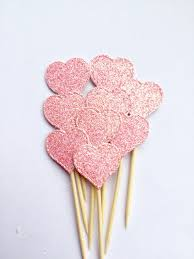 pink heart cupcake toppers baby shower cake toppers gender