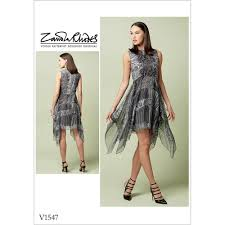 misses lined dress with handkerchief style overlay vogue sewing