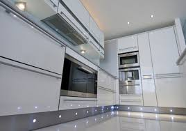 Led Kitchen Plinth Lights High Gloss White With Stainless Steel Plinth With Led Lights