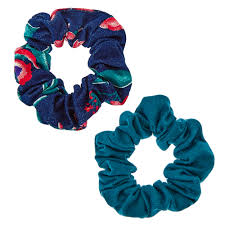 hair scrunchies denim and turquoise leafage hair scrunchies s ca