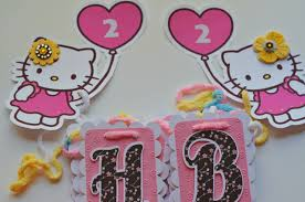 hello kitty birthday party invitations banner cupcake toppers